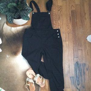 NWT Black denim overalls